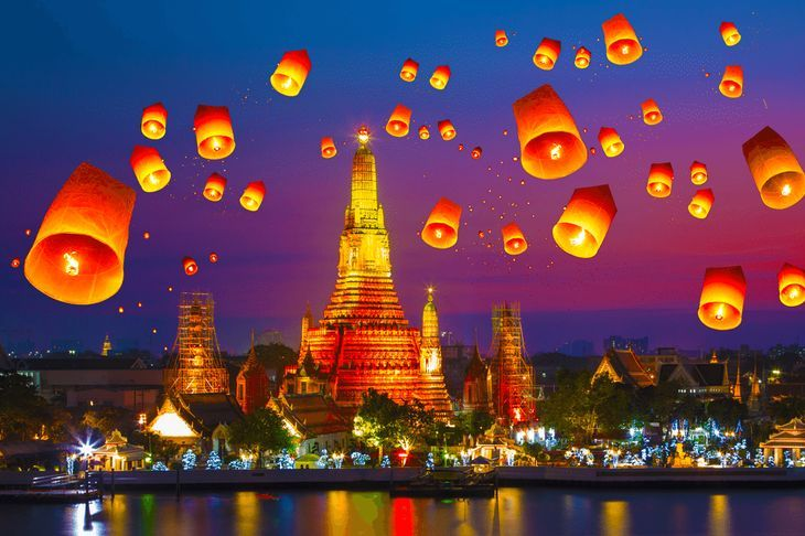 Lanterns flying in the air above a temple