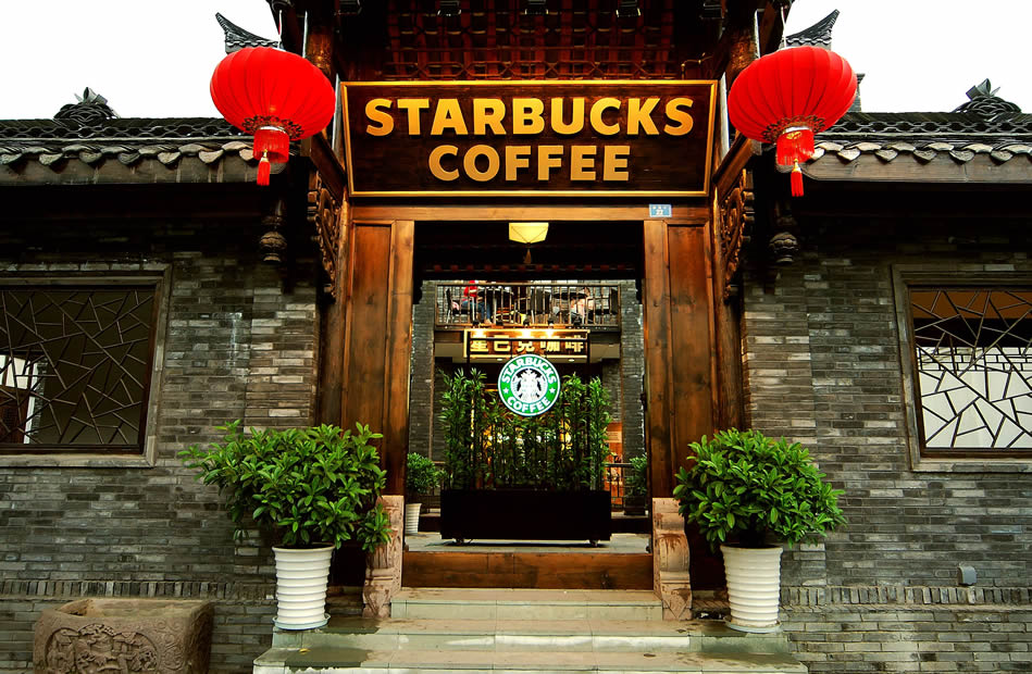 Starbucks Coffee shop, exteriour modeled like a traditional Chinese temple