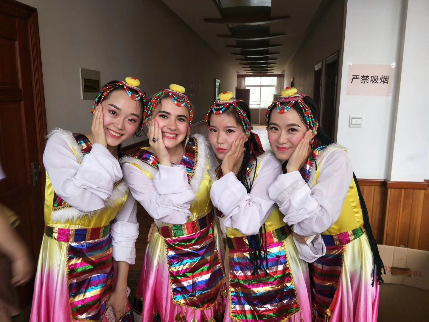 Samanthaand her friends wearing traditional clothing