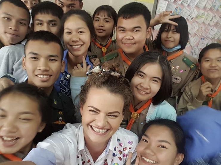 Hattie with students - Hats off to Hattie   Our Thailand TEFL Star