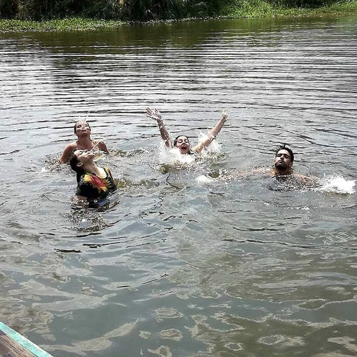 Teahcers going for a swim - Hats off to Hattie   Our Thailand TEFL Star
