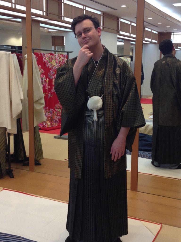 Sheldon wearing traditional Japanese garments