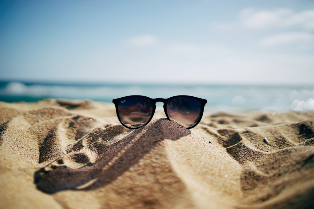 Sun glasses in the sand
