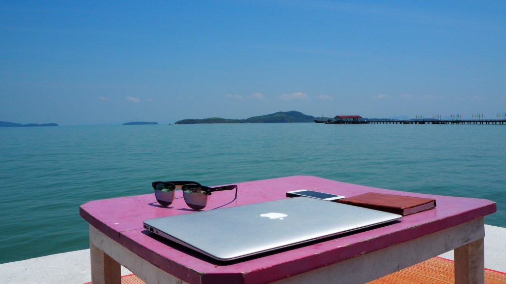 Beach office 1024x576 - Teach English Online: 5 Awesome Companies to Choose From