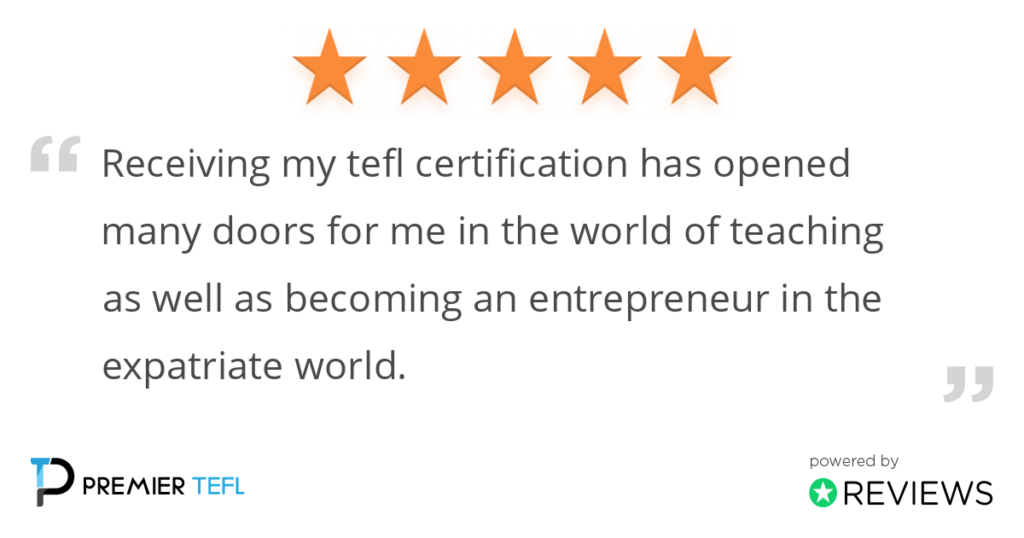A 5 star review on Premier TEFL 's service