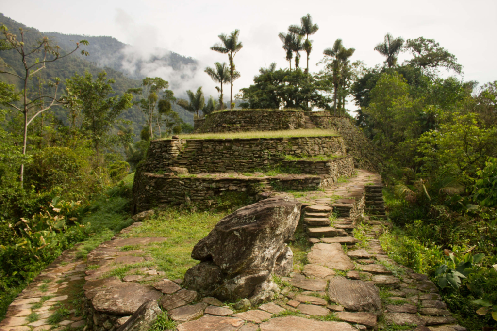 Ancient ruins in the Colombian forest.
