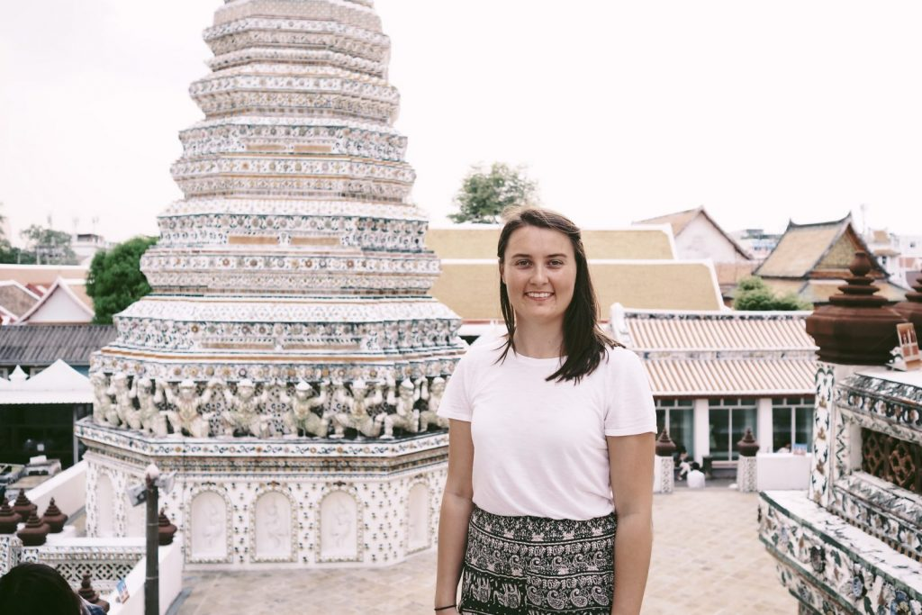 Sarah exploring the beautiful white streets in Thailand.