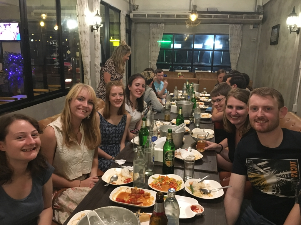 Interns having their dinner together and getting to know each other