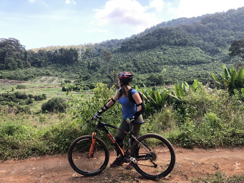 Briana cycling through the wonderful Thai countryside.