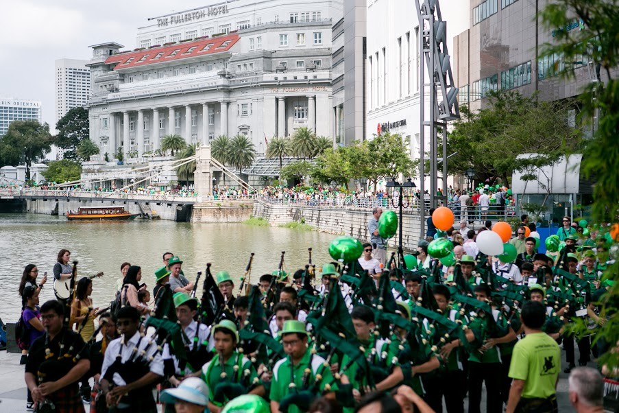 St. Patrick's day parade in Singapore.