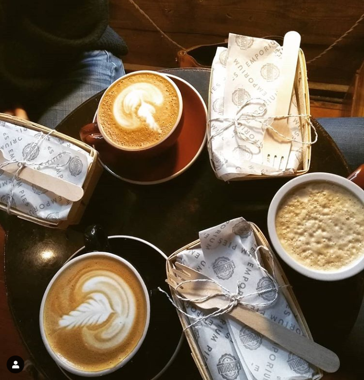 Beautiful looking lattes with a design on top