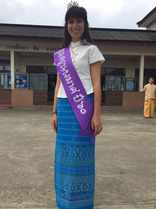 Stefanie wearing traditional Thai clothing.