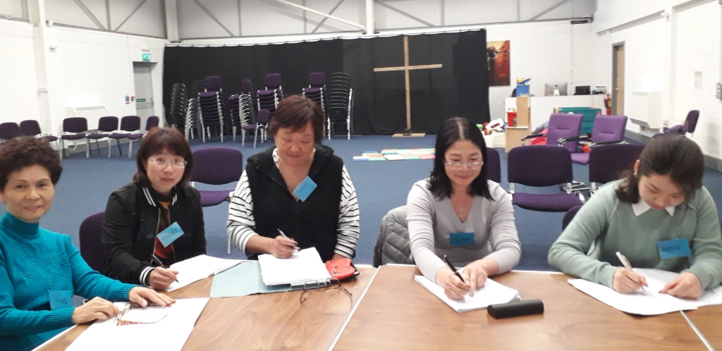 Chinese students being taught English.
