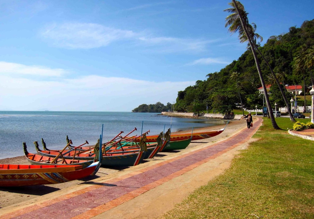 Boats docked on a beach in Cambodia