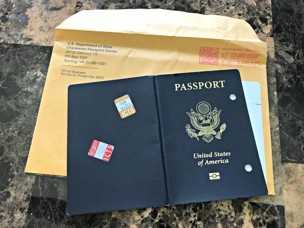 A passport on a counter.