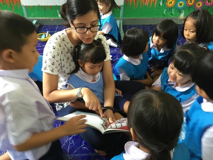 Andrea reading to her students