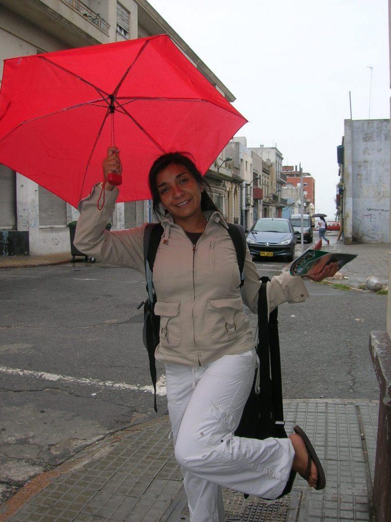 Lorena with an umbrella