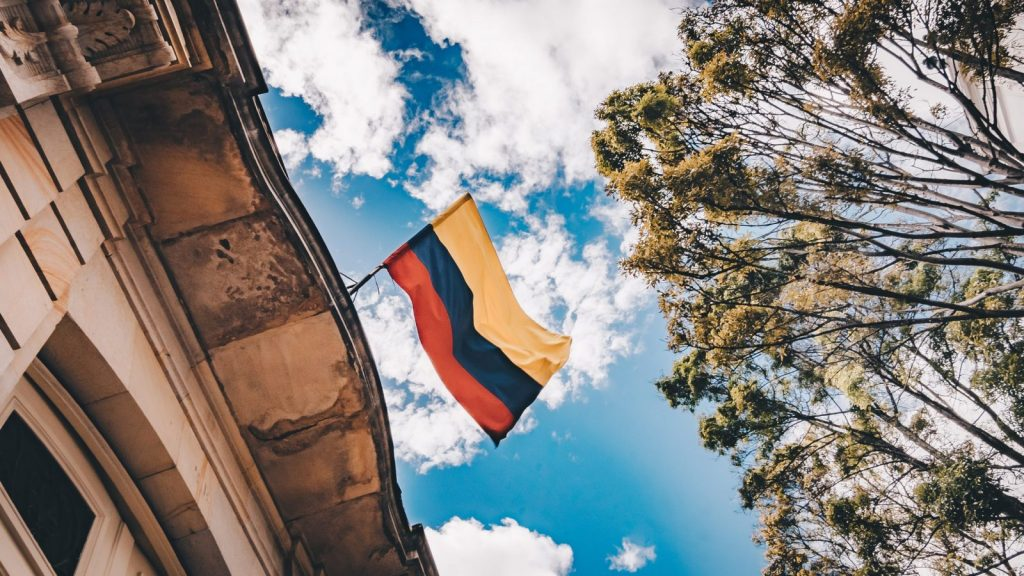 Colombian flag waving