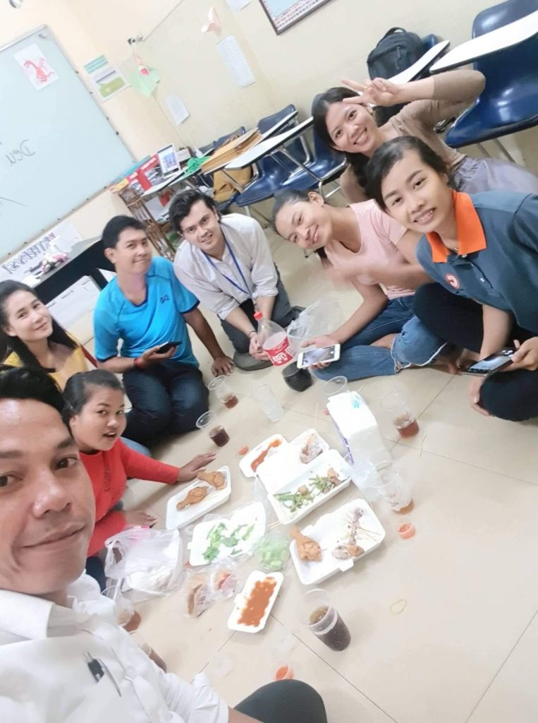 Anton with his TEFL students in Cambodia