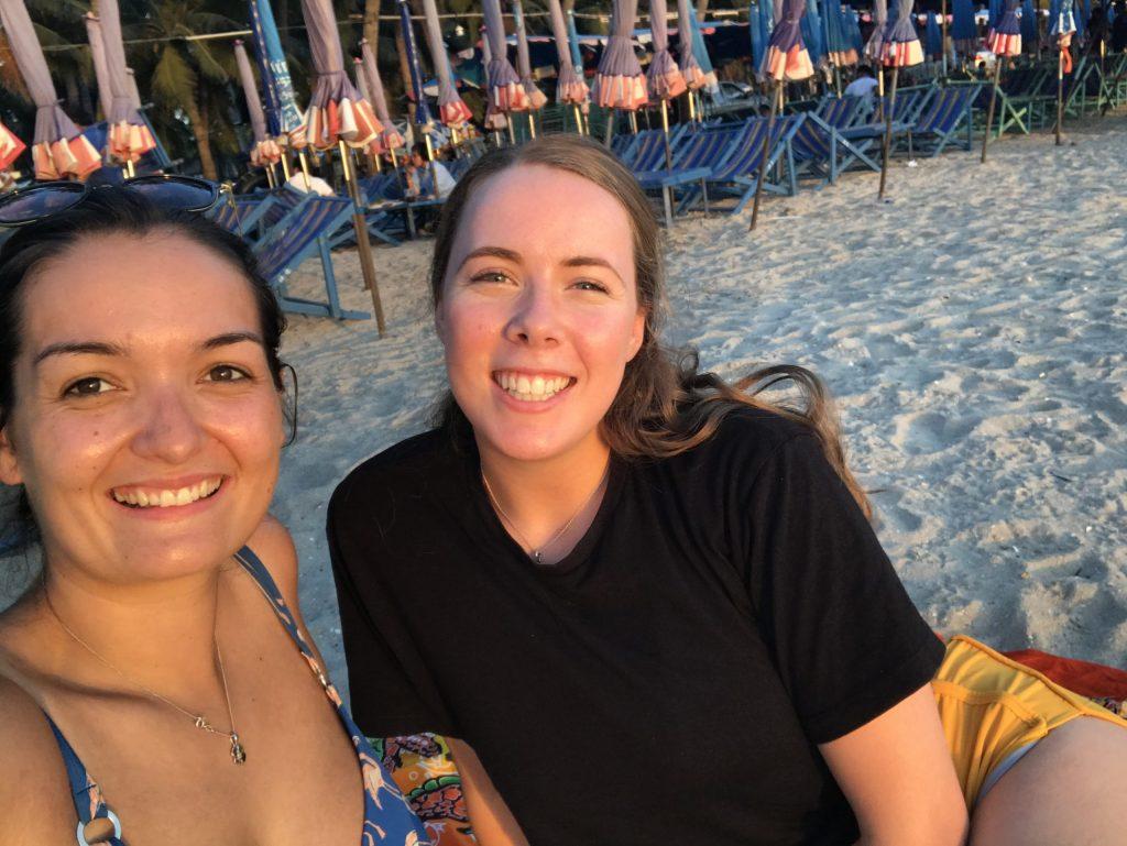 Katie on the beach in Thailand