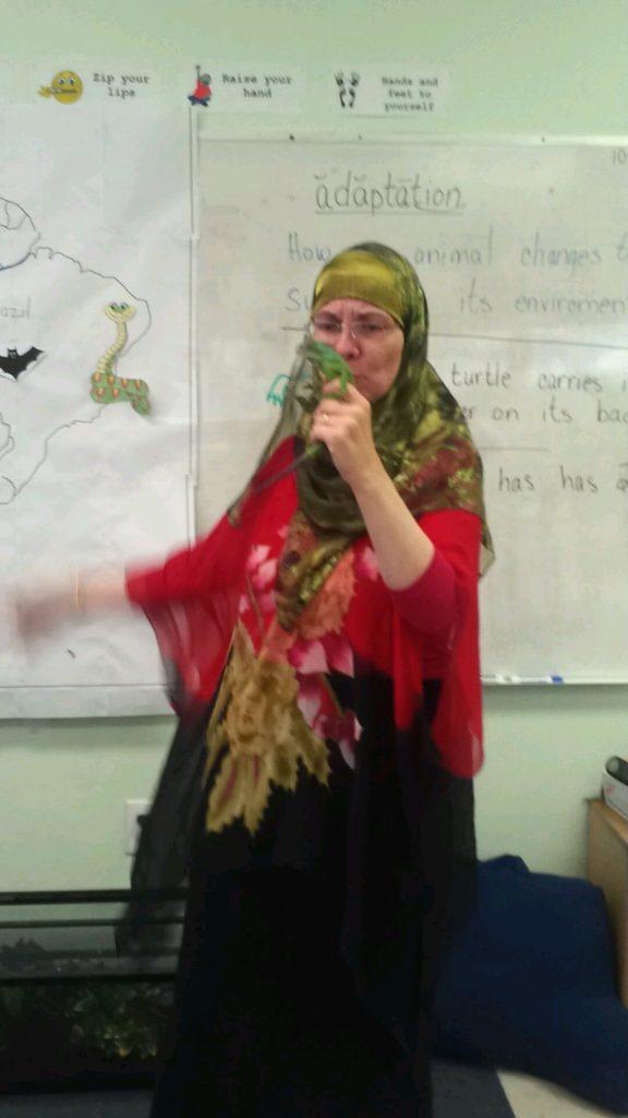 Lorie teaching English