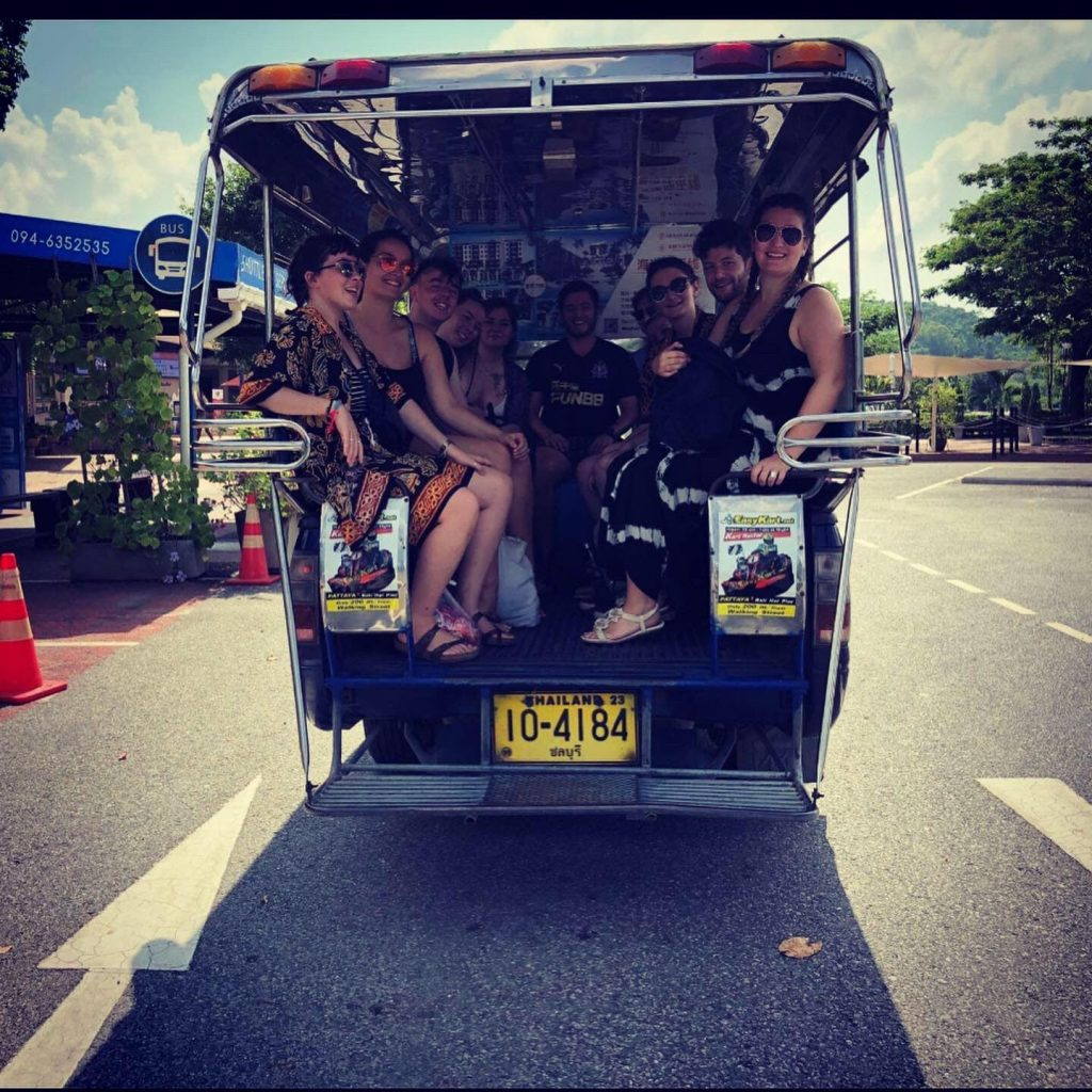 TEFL teachers in the back of a van in Thailand