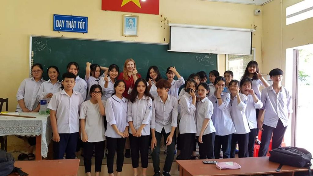 Martha with her TEFL class