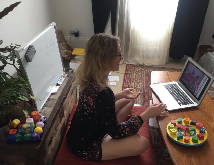 Anastasia teaching English online from her home