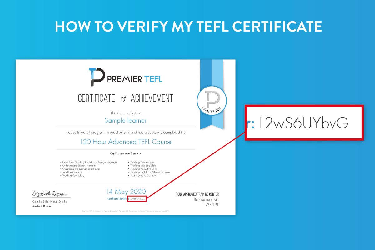 Unique identifier code for TEFL certificate