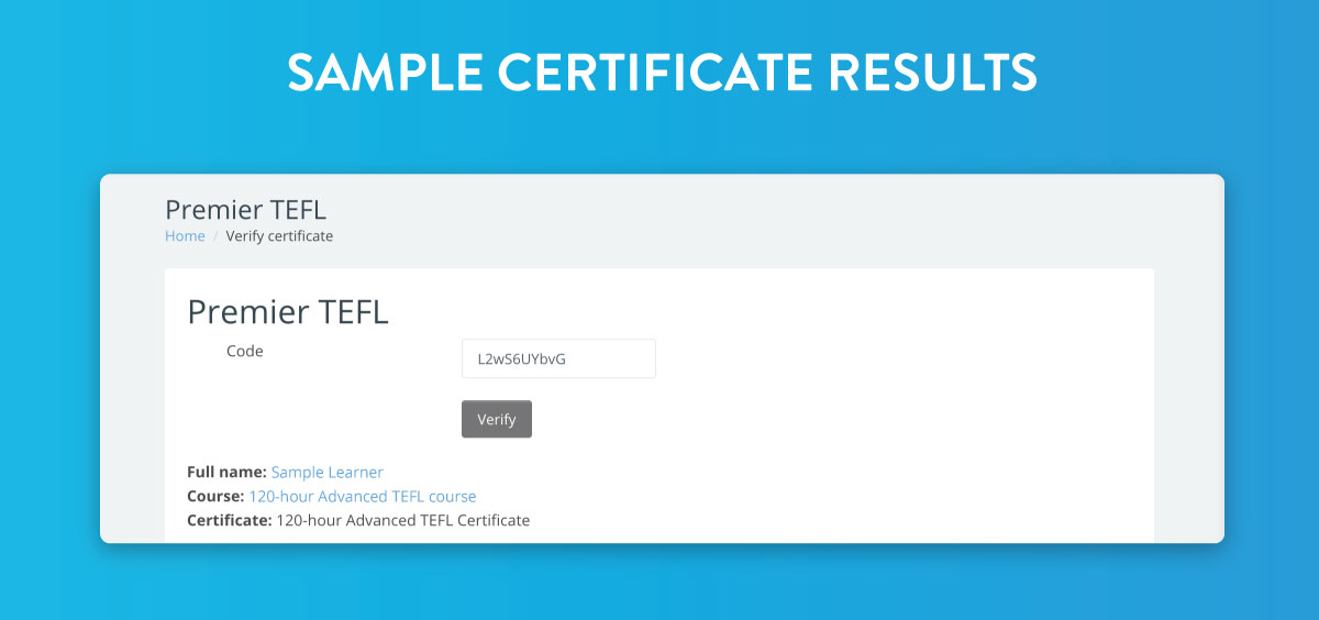 Sample certificate results