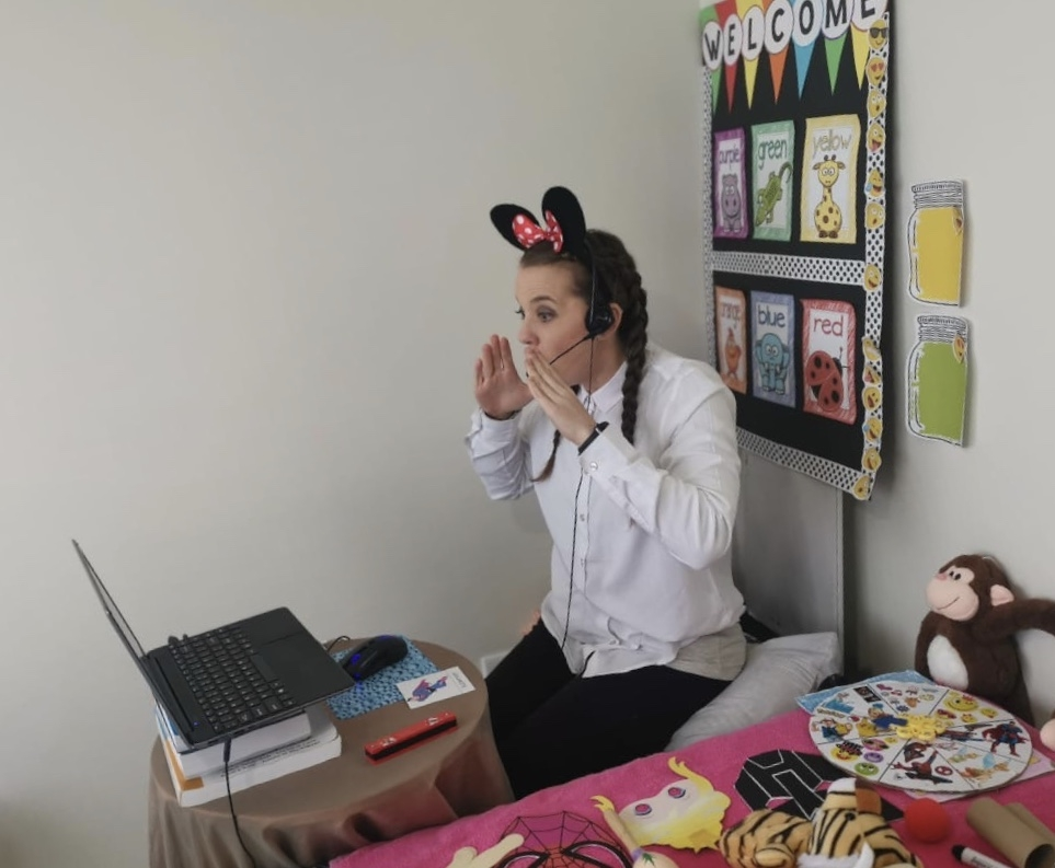 Teacher Melissa in an online lesson
