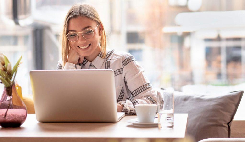 woman smiling teaching english online